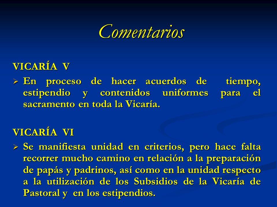 Comentarios VICARÍA V. En proceso de hacer acuerdos de tiempo, estipendio y contenidos uniformes para el sacramento en toda la Vicaría.