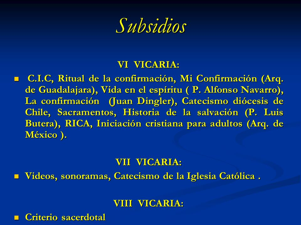 Subsidios VI VICARIA: