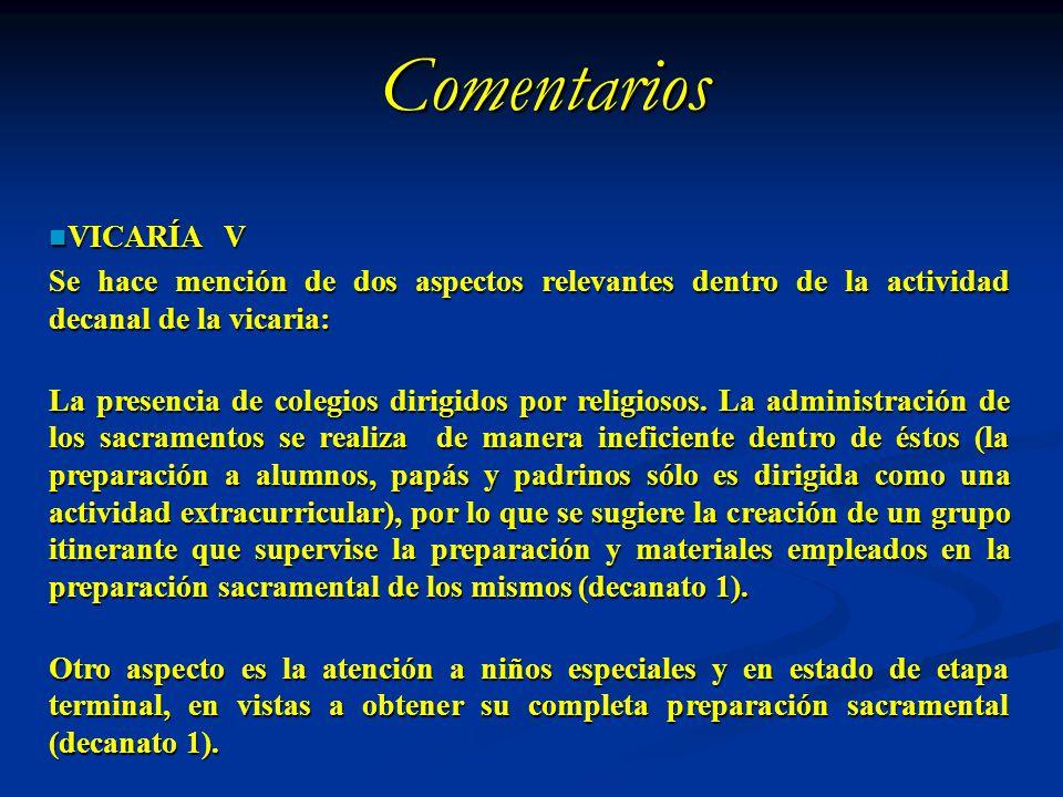 Comentarios VICARÍA V. Se hace mención de dos aspectos relevantes dentro de la actividad decanal de la vicaria:
