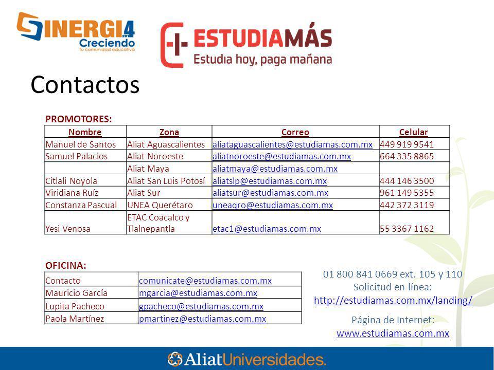 Contactos PROMOTORES: OFICINA: 01 800 841 0669 ext. 105 y 110