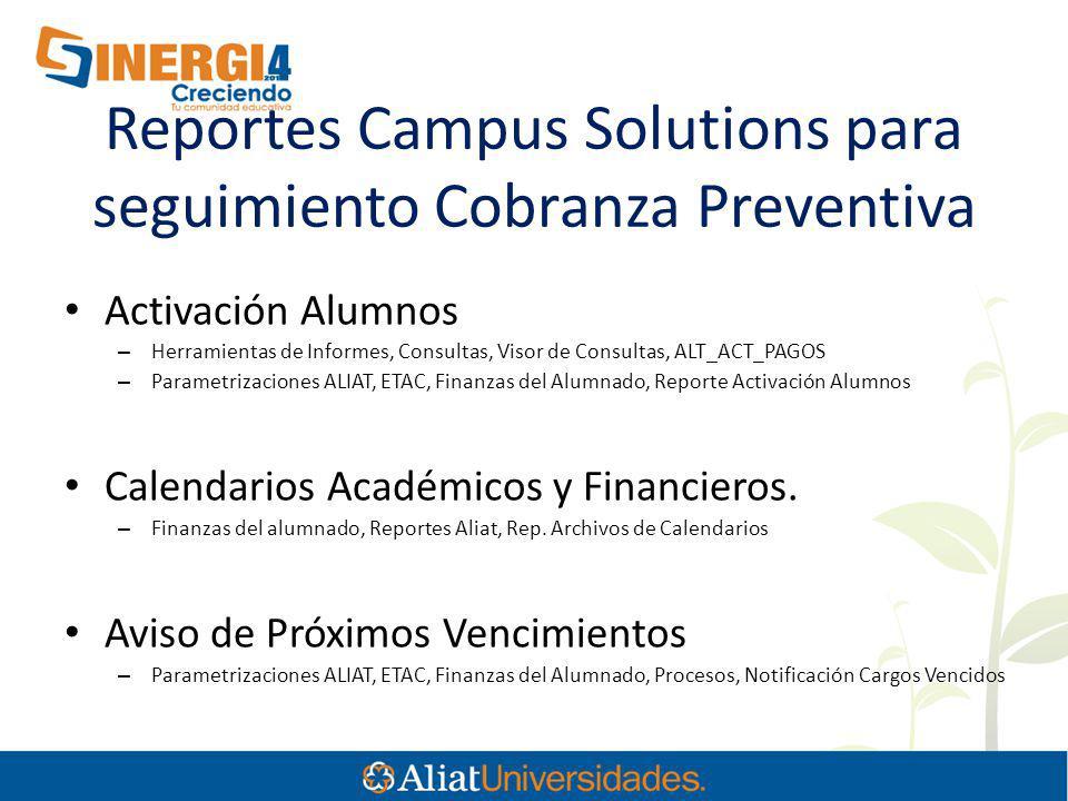 Reportes Campus Solutions para seguimiento Cobranza Preventiva