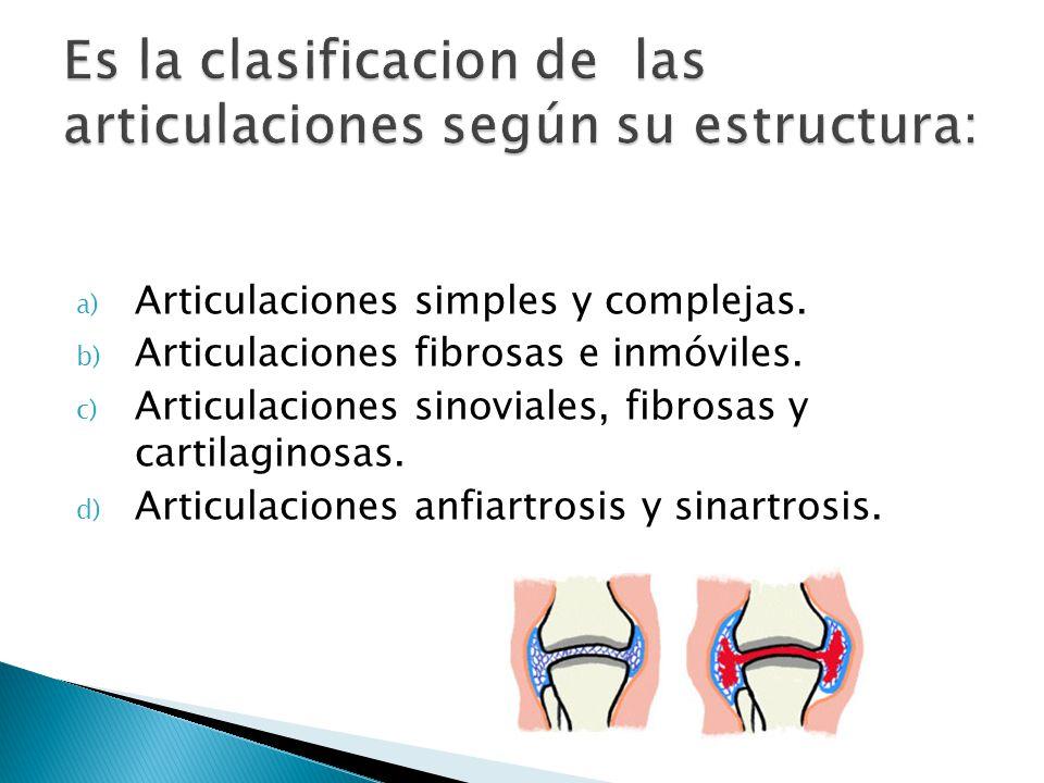 Es la clasificacion de las articulaciones según su estructura: