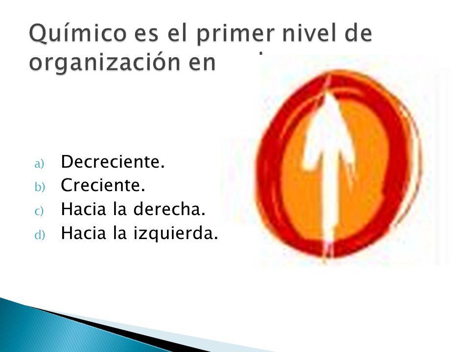 Químico es el primer nivel de organización en orden….