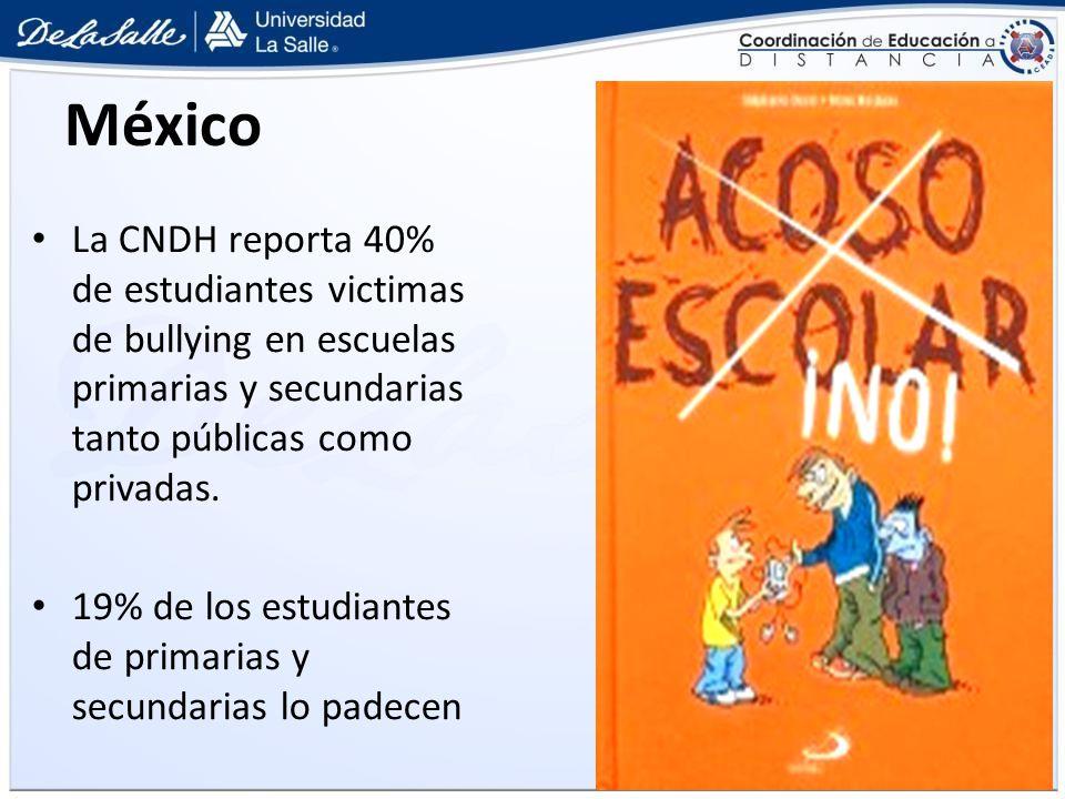 México La CNDH reporta 40% de estudiantes victimas de bullying en escuelas primarias y secundarias tanto públicas como privadas.