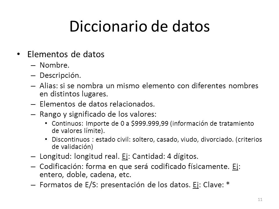 Diccionario de datos Elementos de datos Nombre. Descripción.