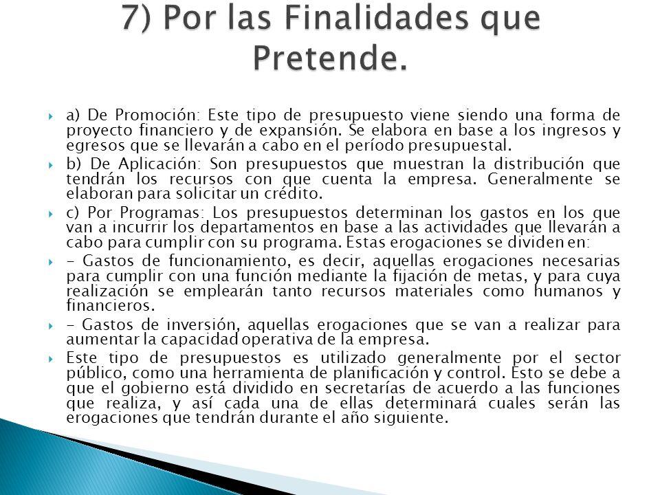 7) Por las Finalidades que Pretende.