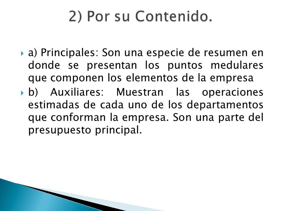 2) Por su Contenido. a) Principales: Son una especie de resumen en donde se presentan los puntos medulares que componen los elementos de la empresa.