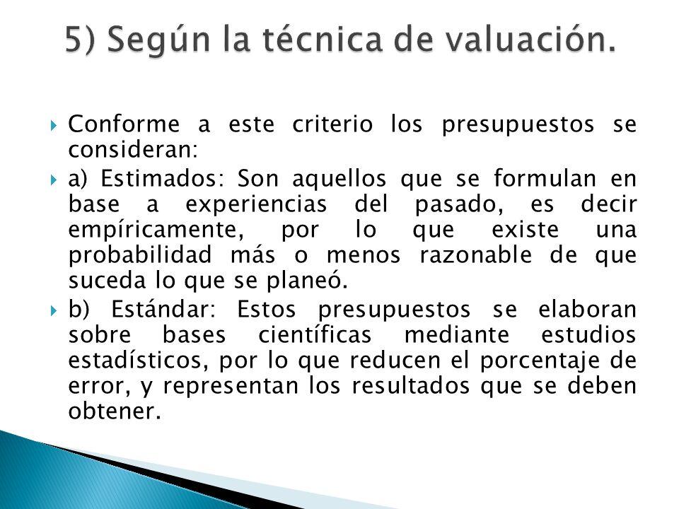 5) Según la técnica de valuación.