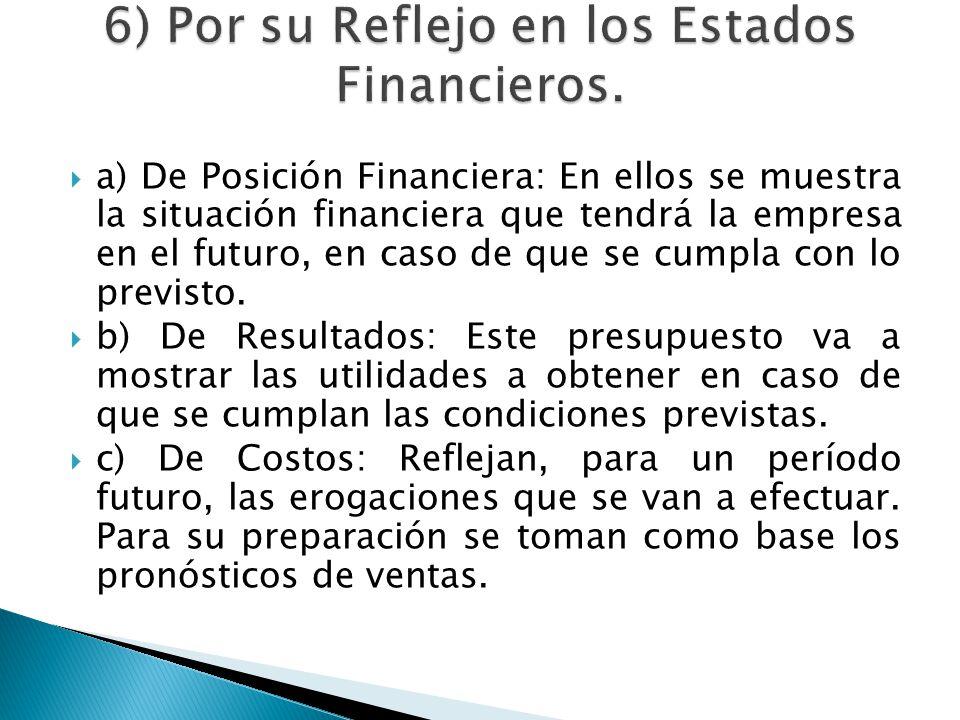 6) Por su Reflejo en los Estados Financieros.