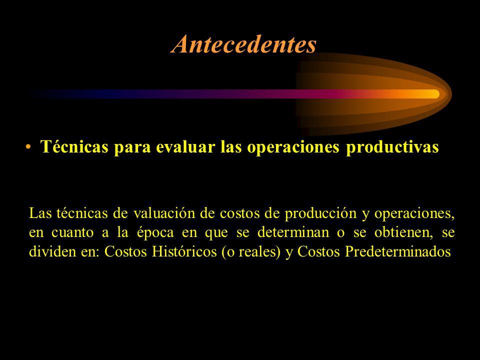 Antecedentes Técnicas para evaluar las operaciones productivas