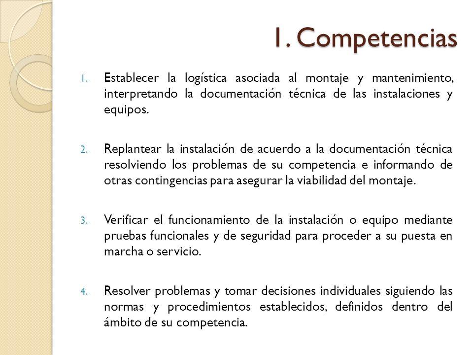 1. Competencias Establecer la logística asociada al montaje y mantenimiento, interpretando la documentación técnica de las instalaciones y equipos.