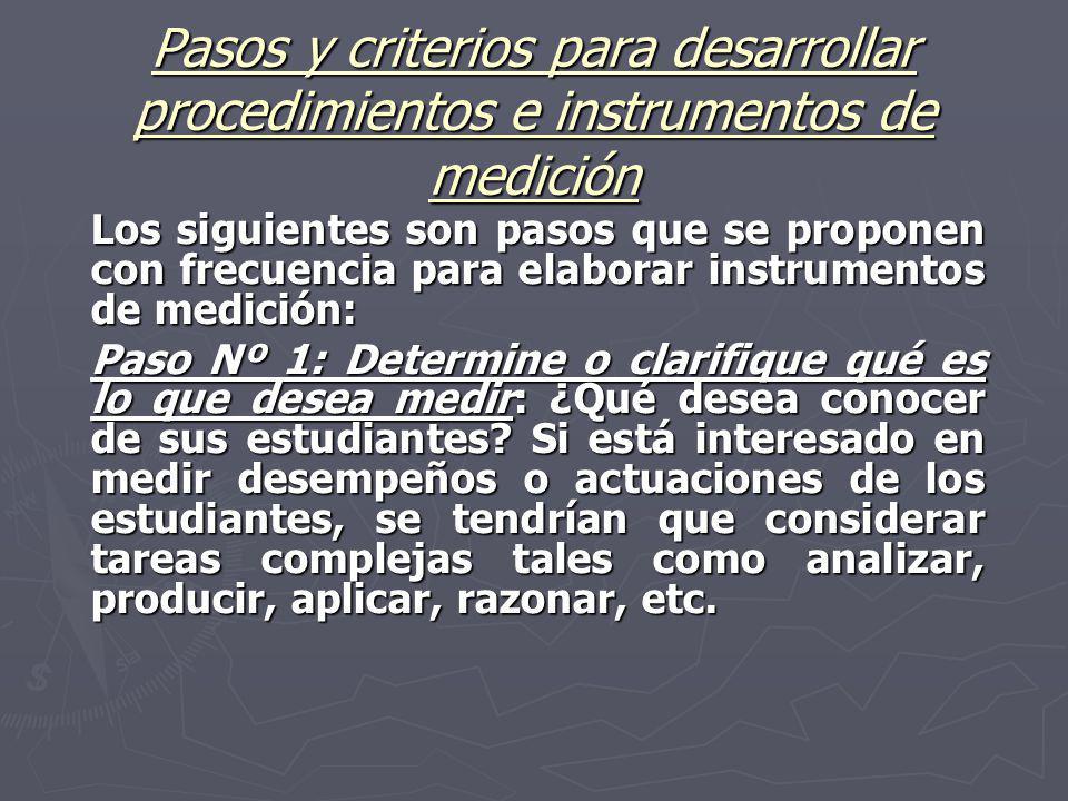 Pasos y criterios para desarrollar procedimientos e instrumentos de medición