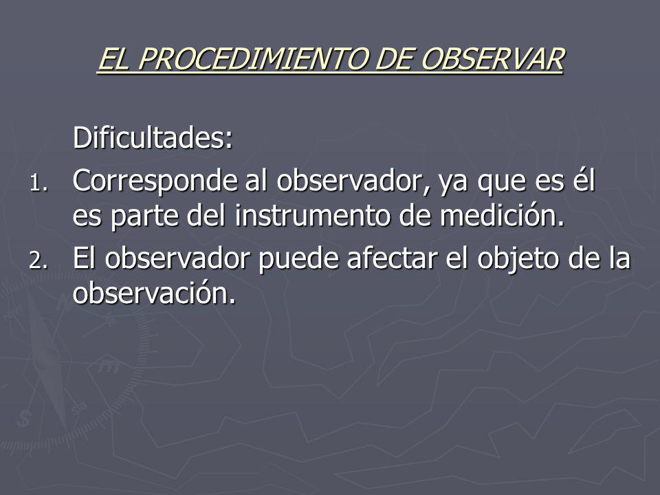 EL PROCEDIMIENTO DE OBSERVAR