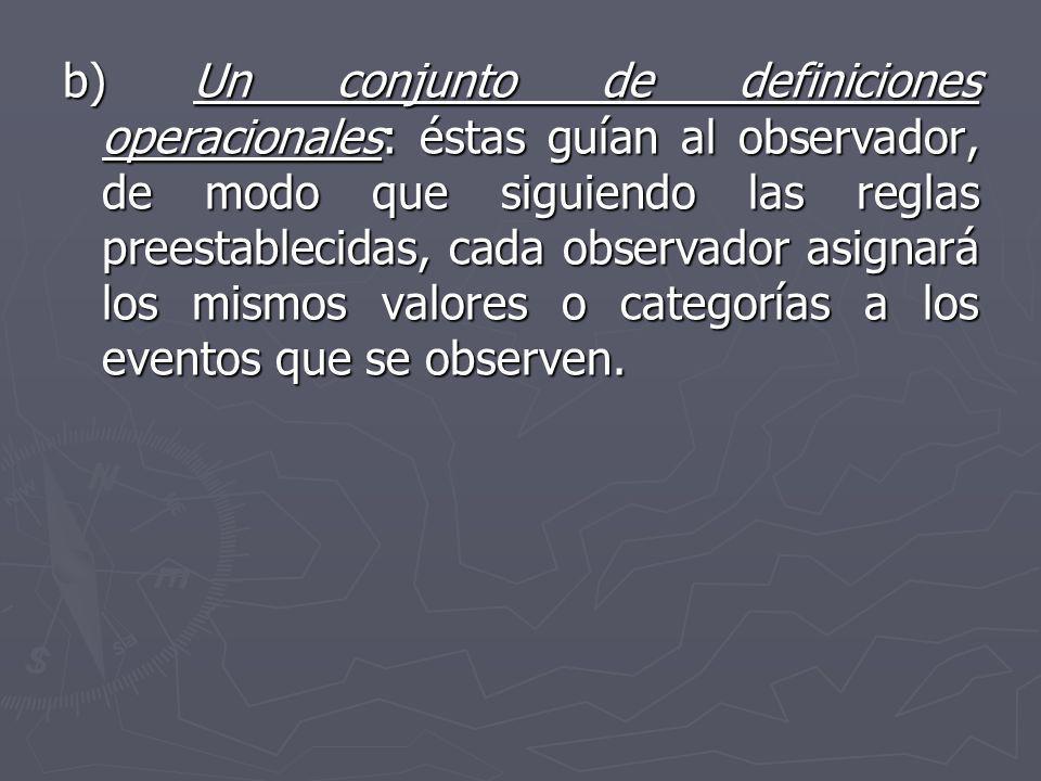 b) Un conjunto de definiciones operacionales: éstas guían al observador, de modo que siguiendo las reglas preestablecidas, cada observador asignará los mismos valores o categorías a los eventos que se observen.