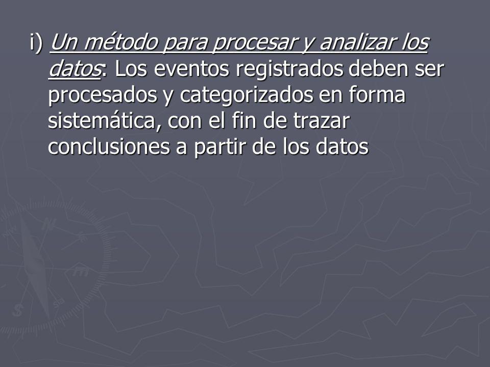 i) Un método para procesar y analizar los datos: Los eventos registrados deben ser procesados y categorizados en forma sistemática, con el fin de trazar conclusiones a partir de los datos