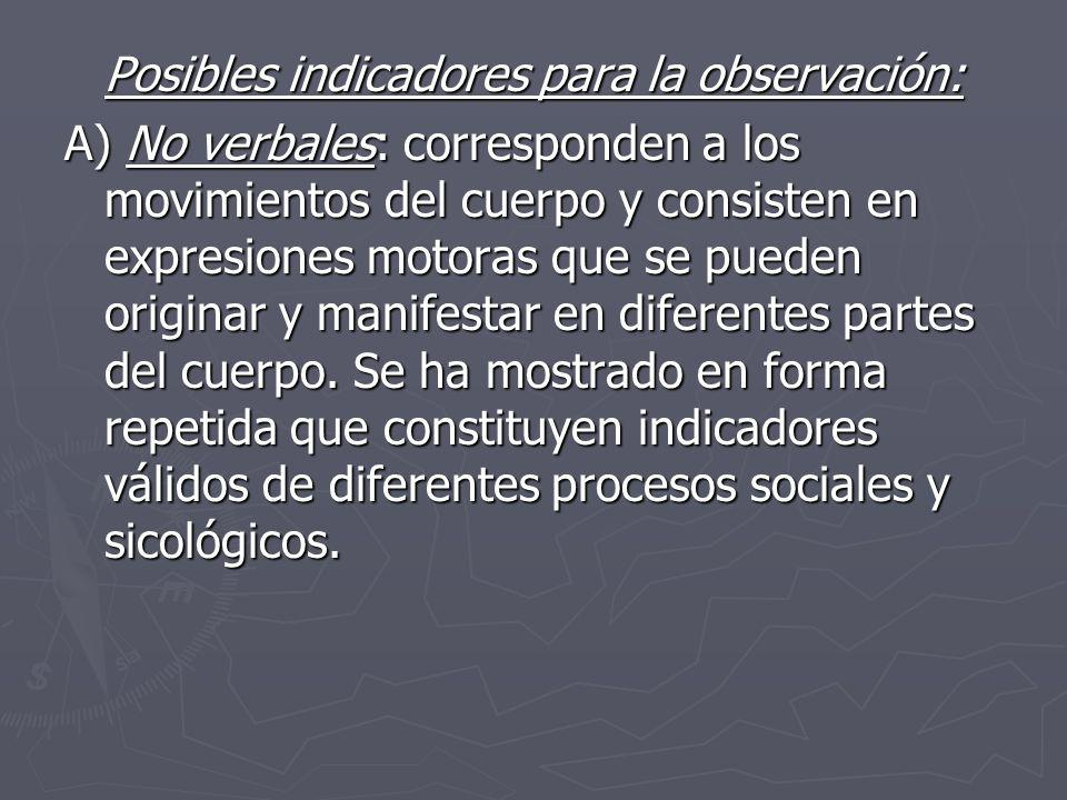 Posibles indicadores para la observación: