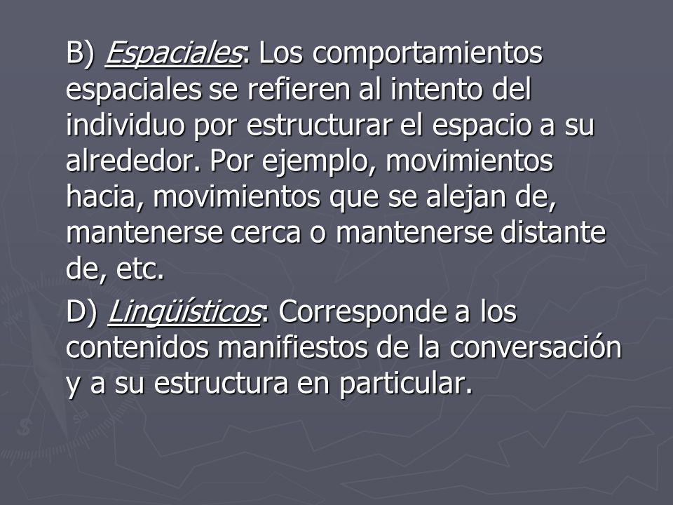 B) Espaciales: Los comportamientos espaciales se refieren al intento del individuo por estructurar el espacio a su alrededor. Por ejemplo, movimientos hacia, movimientos que se alejan de, mantenerse cerca o mantenerse distante de, etc.