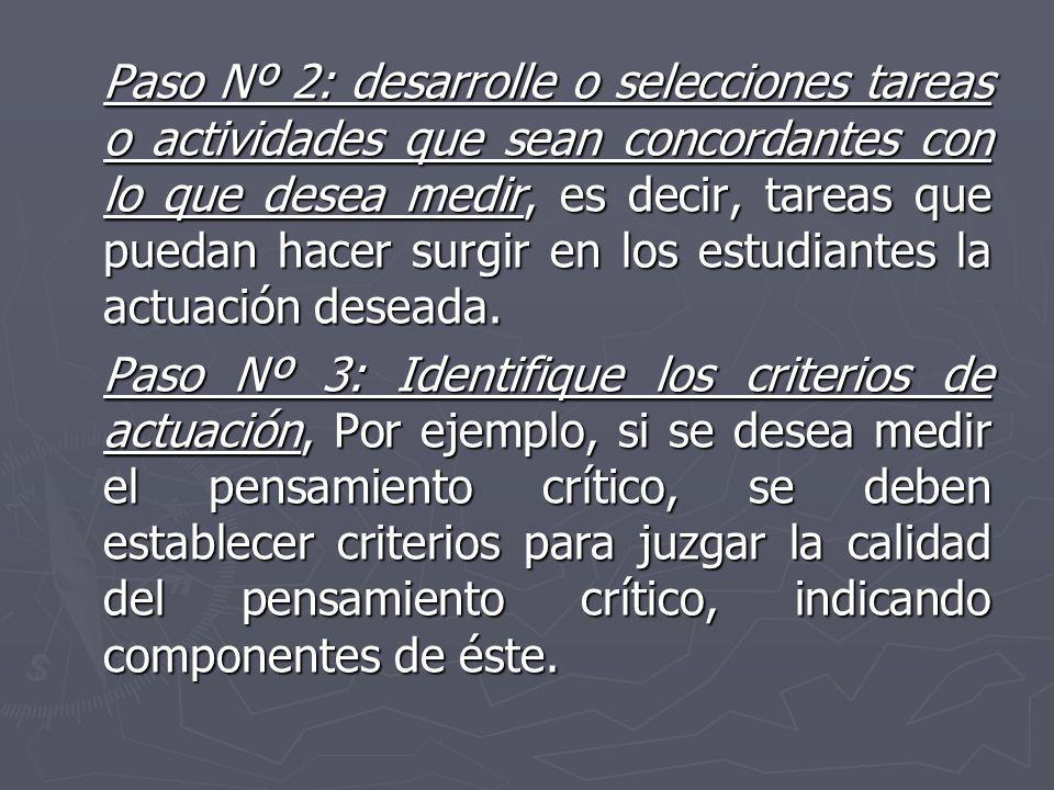 Paso Nº 2: desarrolle o selecciones tareas o actividades que sean concordantes con lo que desea medir, es decir, tareas que puedan hacer surgir en los estudiantes la actuación deseada.
