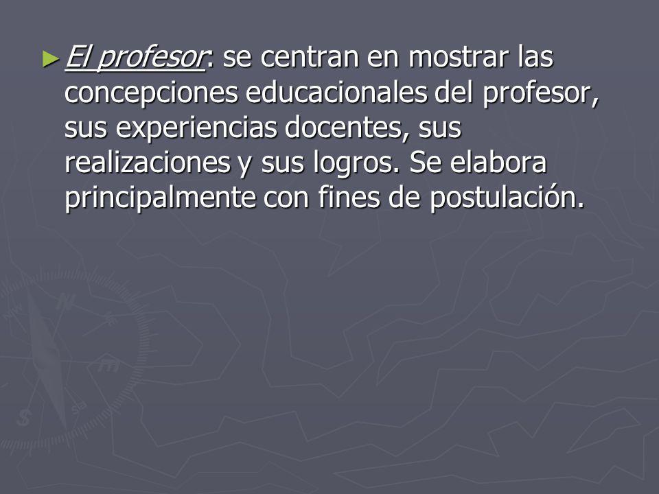 El profesor: se centran en mostrar las concepciones educacionales del profesor, sus experiencias docentes, sus realizaciones y sus logros.