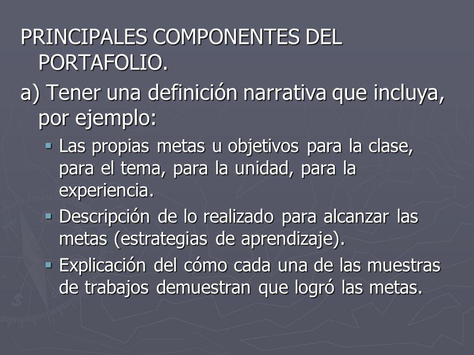 PRINCIPALES COMPONENTES DEL PORTAFOLIO.