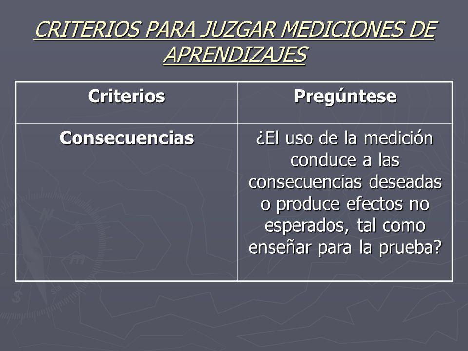 CRITERIOS PARA JUZGAR MEDICIONES DE APRENDIZAJES