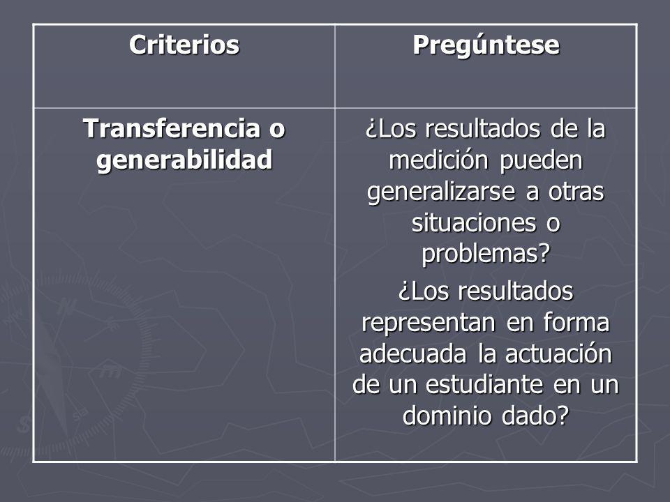 Transferencia o generabilidad
