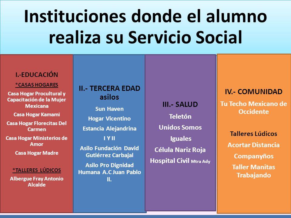 Instituciones donde el alumno realiza su Servicio Social