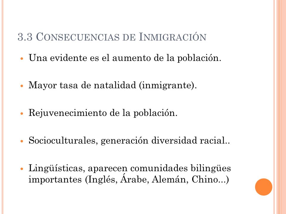 3.3 Consecuencias de Inmigración