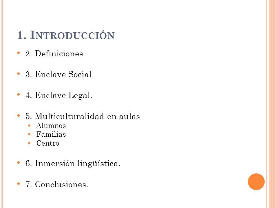1. Introducción 2. Definiciones 3. Enclave Social 4. Enclave Legal.