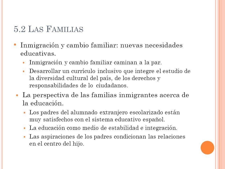 5.2 Las FamiliasInmigración y cambio familiar: nuevas necesidades educativas. Inmigración y cambio familiar caminan a la par.