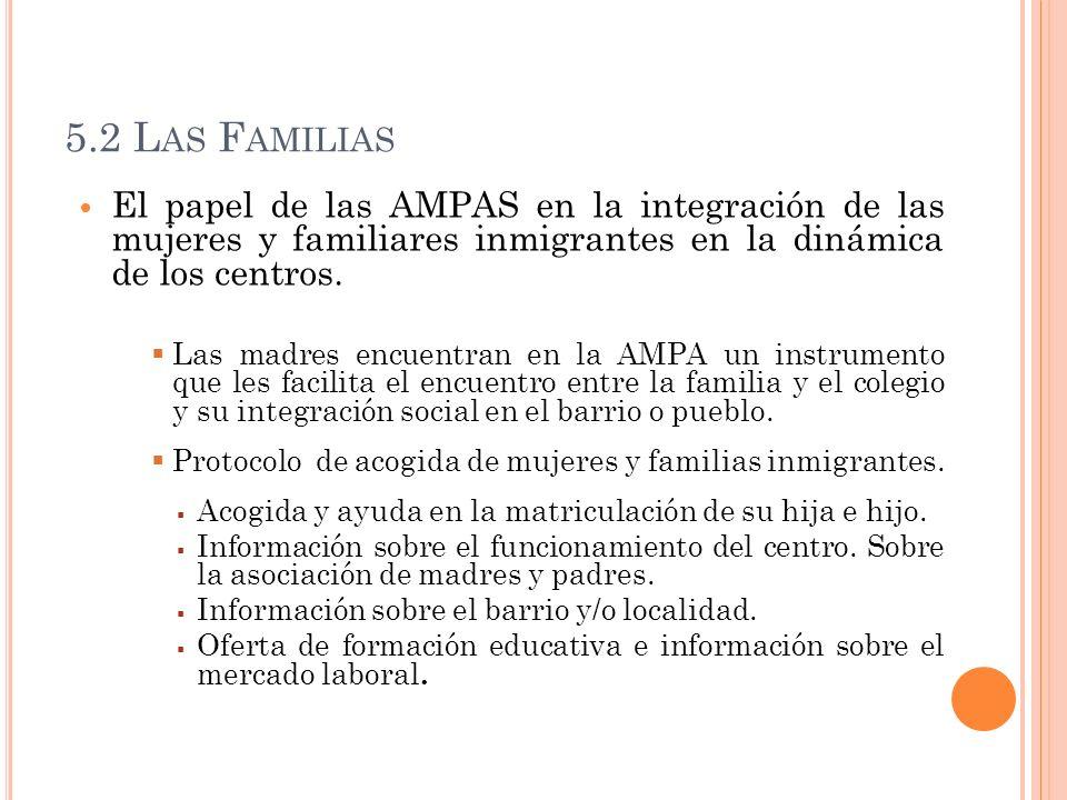 5.2 Las Familias El papel de las AMPAS en la integración de las mujeres y familiares inmigrantes en la dinámica de los centros.