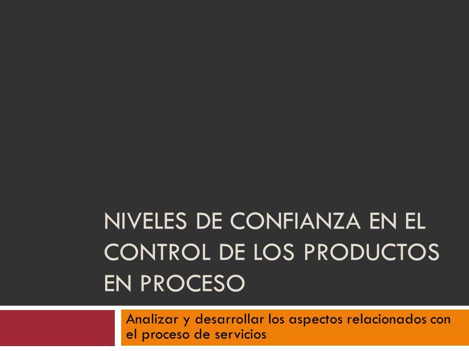 Niveles de confianza en el control de los productos en proceso
