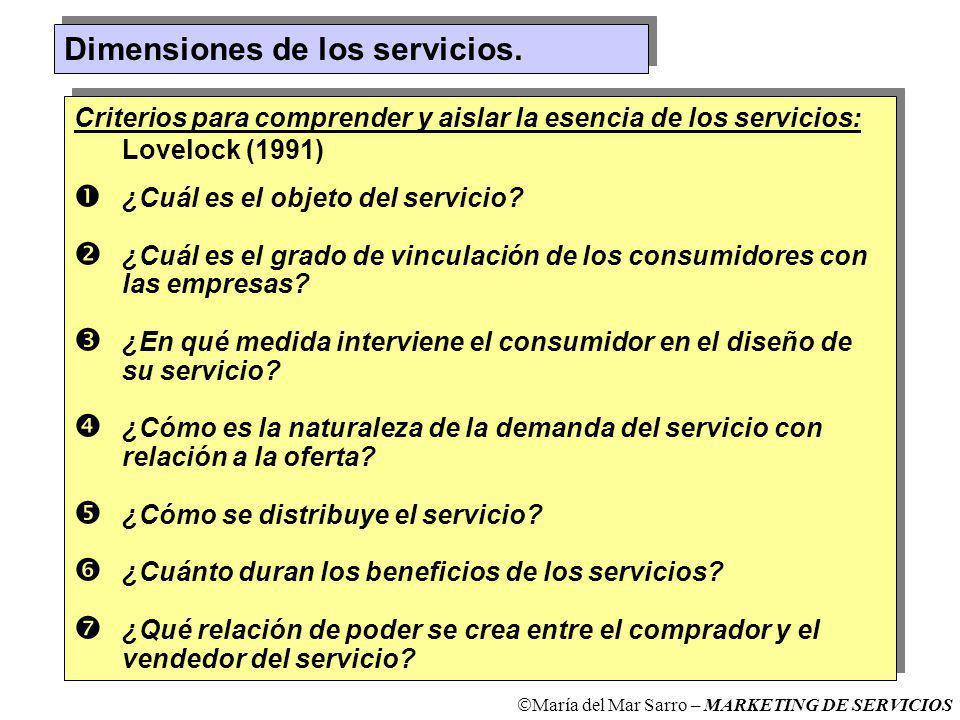 Dimensiones de los servicios.