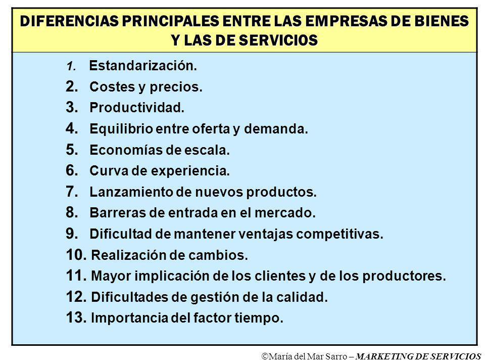 DIFERENCIAS PRINCIPALES ENTRE LAS EMPRESAS DE BIENES Y LAS DE SERVICIOS