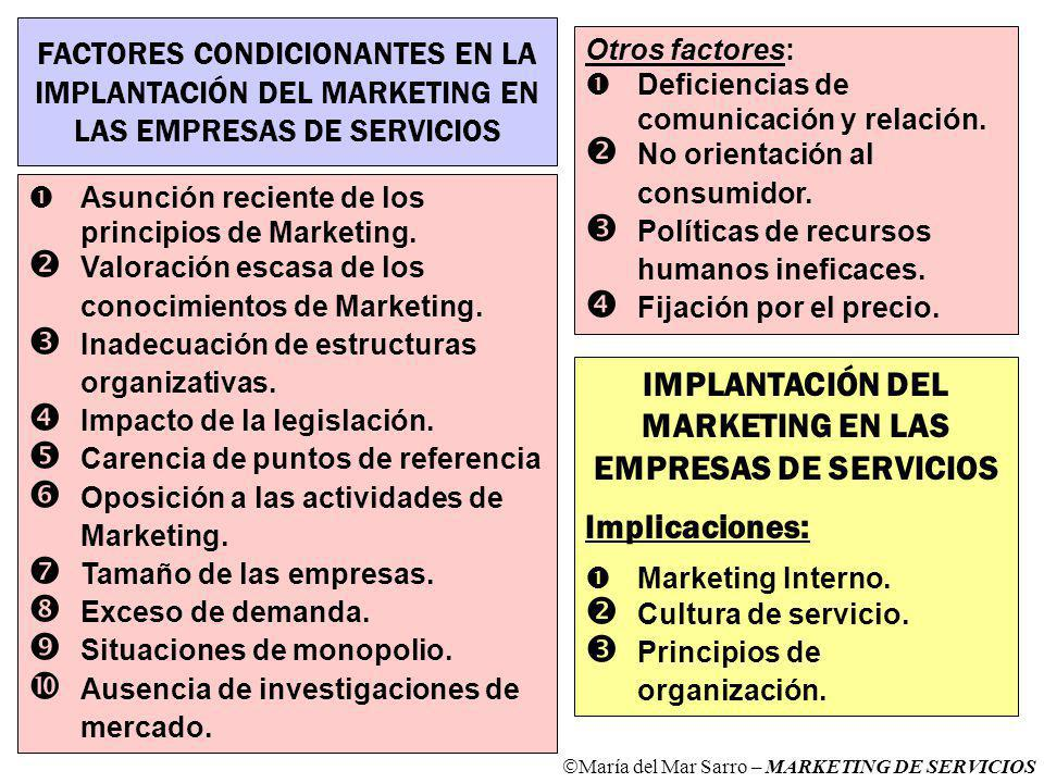 IMPLANTACIÓN DEL MARKETING EN LAS EMPRESAS DE SERVICIOS