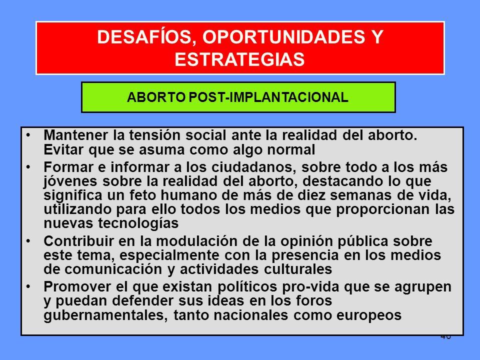 DESAFÍOS, OPORTUNIDADES Y ESTRATEGIAS ABORTO POST-IMPLANTACIONAL