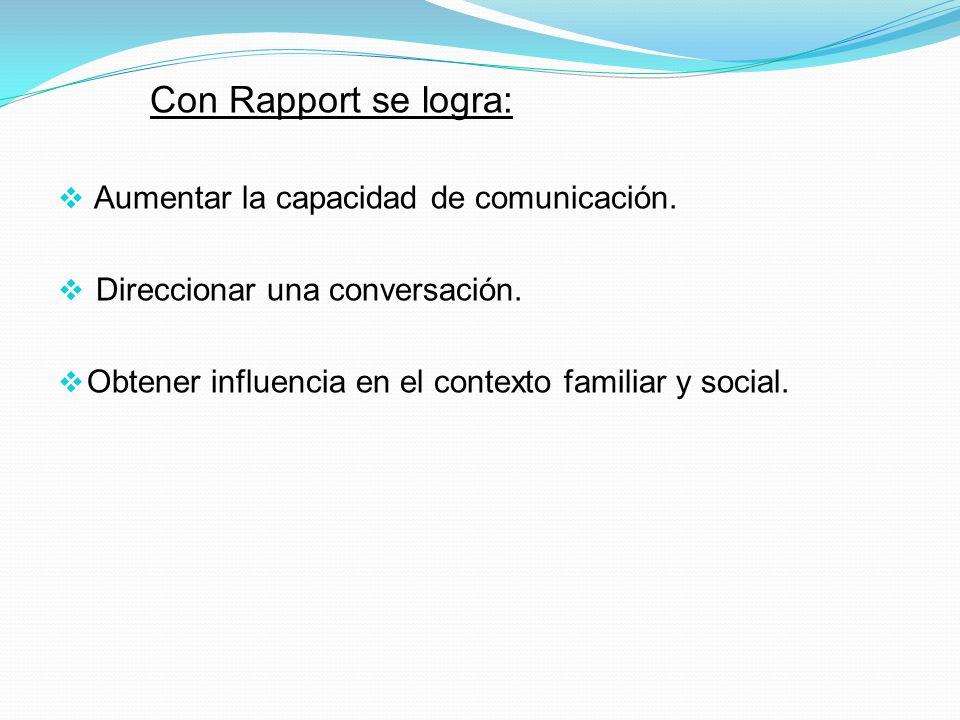Con Rapport se logra: Aumentar la capacidad de comunicación.
