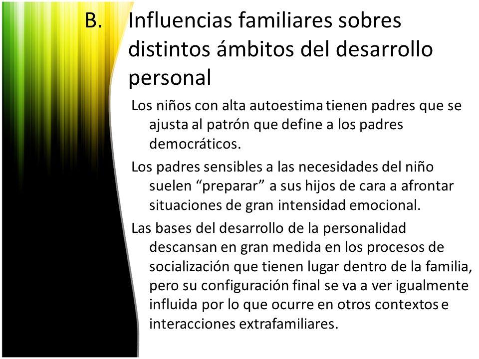 Influencias familiares sobres distintos ámbitos del desarrollo personal