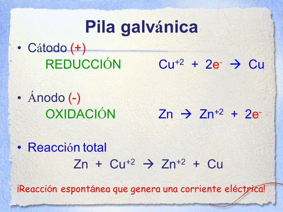 ¡Reacción espontánea que genera una corriente eléctrica!