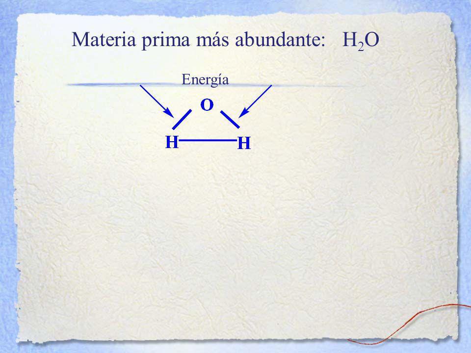 Materia prima más abundante: H2O