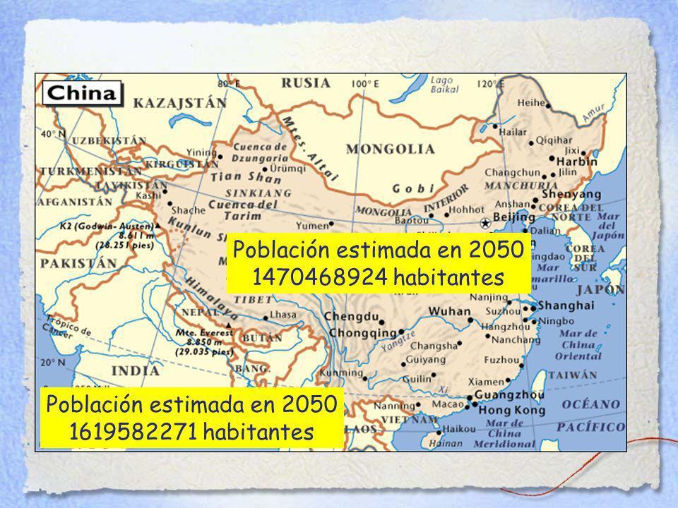 Población estimada en 2050 1470468924 habitantes Población estimada en 2050 1619582271 habitantes