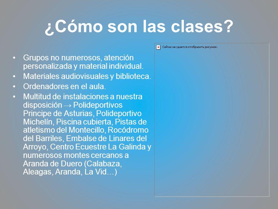 ¿Cómo son las clases Grupos no numerosos, atención personalizada y material individual. Materiales audiovisuales y biblioteca.