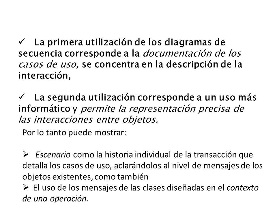 La primera utilización de los diagramas de secuencia corresponde a la documentación de los casos de uso, se concentra en la descripción de la interacción,