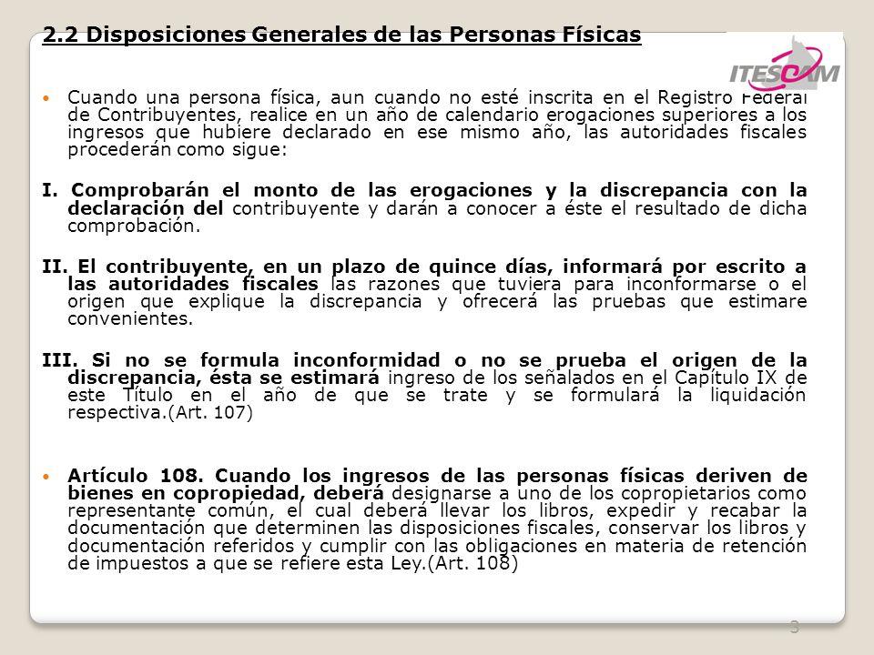 2.2 Disposiciones Generales de las Personas Físicas