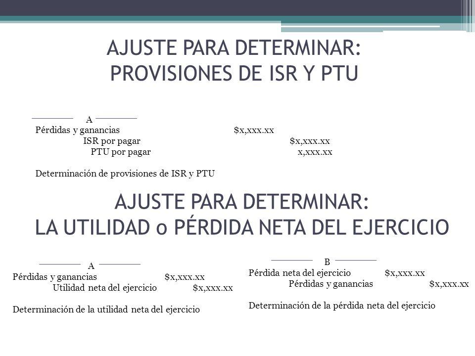 AJUSTE PARA DETERMINAR: PROVISIONES DE ISR Y PTU