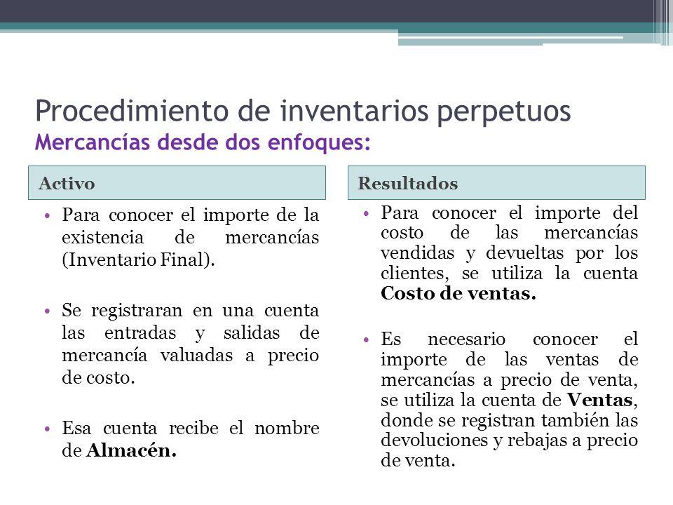 Procedimiento de inventarios perpetuos Mercancías desde dos enfoques: