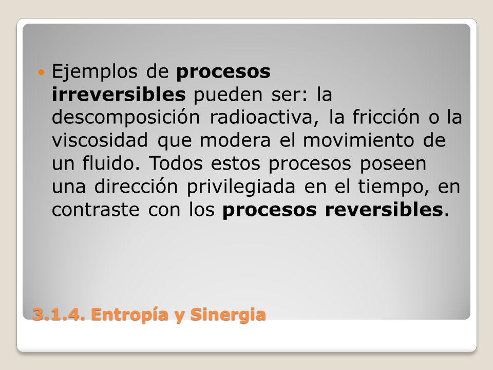 Ejemplos de procesos irreversibles pueden ser: la descomposición radioactiva, la fricción o la viscosidad que modera el movimiento de un fluido. Todos estos procesos poseen una dirección privilegiada en el tiempo, en contraste con los procesos reversibles.