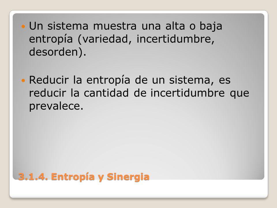 Un sistema muestra una alta o baja entropía (variedad, incertidumbre, desorden).