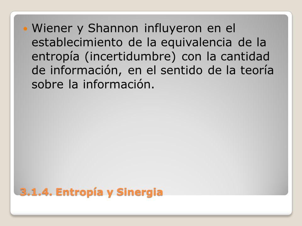 Wiener y Shannon influyeron en el establecimiento de la equivalencia de la entropía (incertidumbre) con la cantidad de información, en el sentido de la teoría sobre la información.