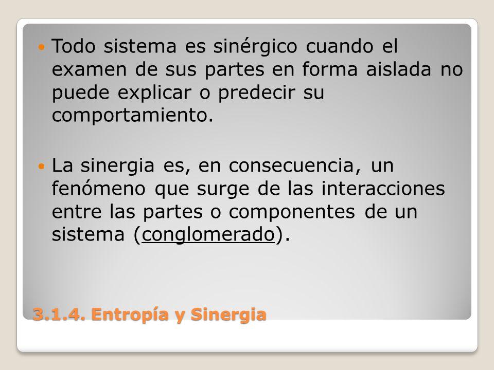Todo sistema es sinérgico cuando el examen de sus partes en forma aislada no puede explicar o predecir su comportamiento.